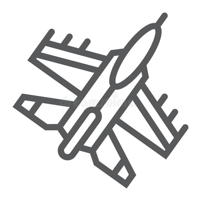 Jet fighter line icon, air and army, airplane sign, vector graphics, a linear pattern on a white background. stock illustration