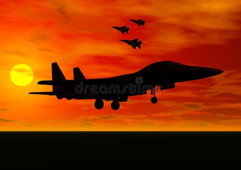 Jet Fighter Taking Off royalty free illustration