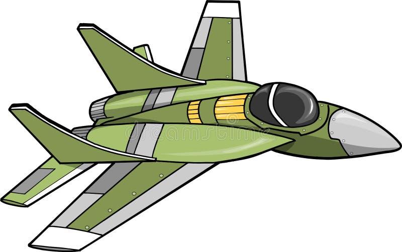 Jet Fighter Vector Illustration. Green Jet Fighter Vector Illustration vector illustration