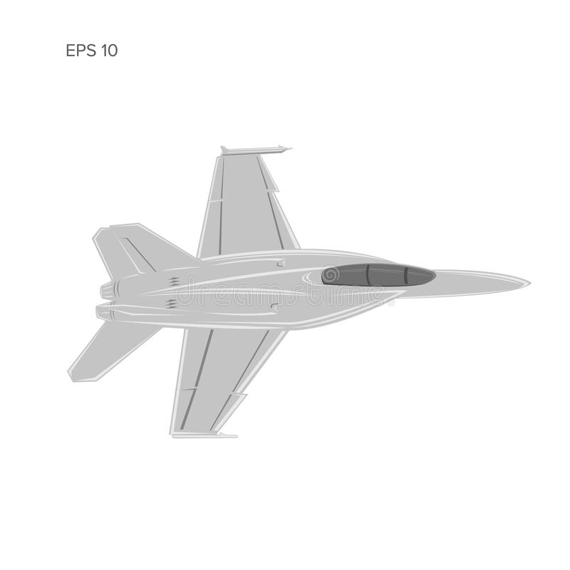 Jet fighter vector illustration. Military aircraft. Carrier-based aircraft. Modern supersonic fighter. Jet fighter vector illustration. Military aircraft stock illustration