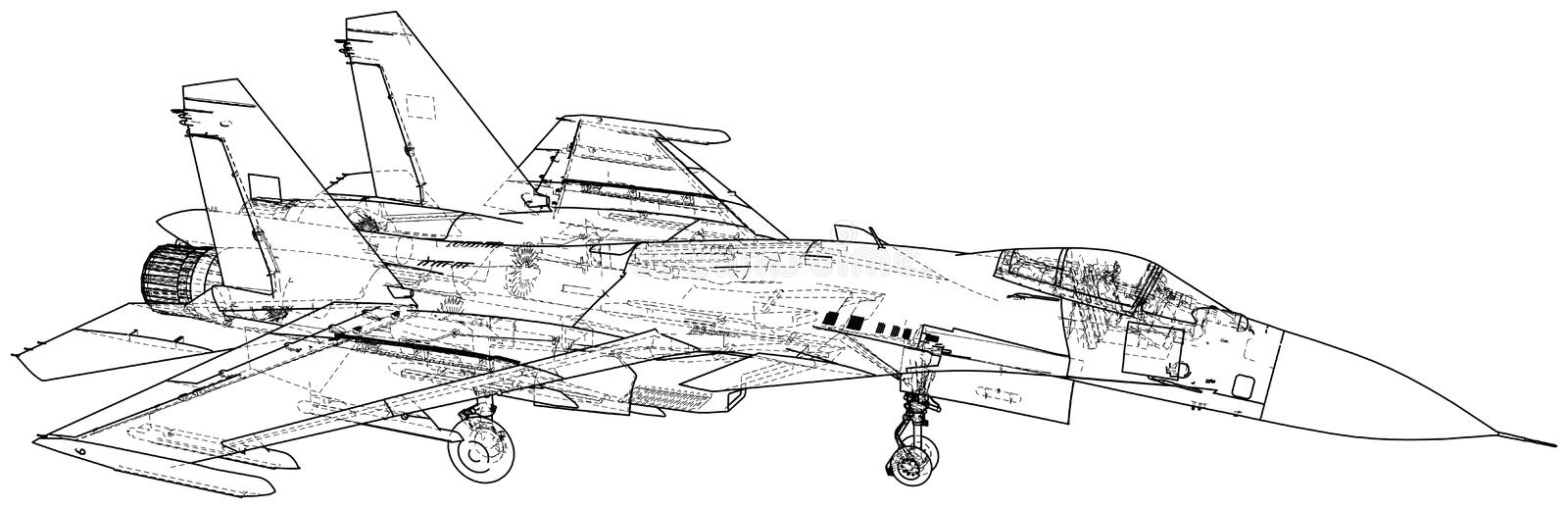 Jet fighter vector illustration. Military aircraft. Carrier-based aircraft. Modern supersonic fighter. Created royalty free illustration