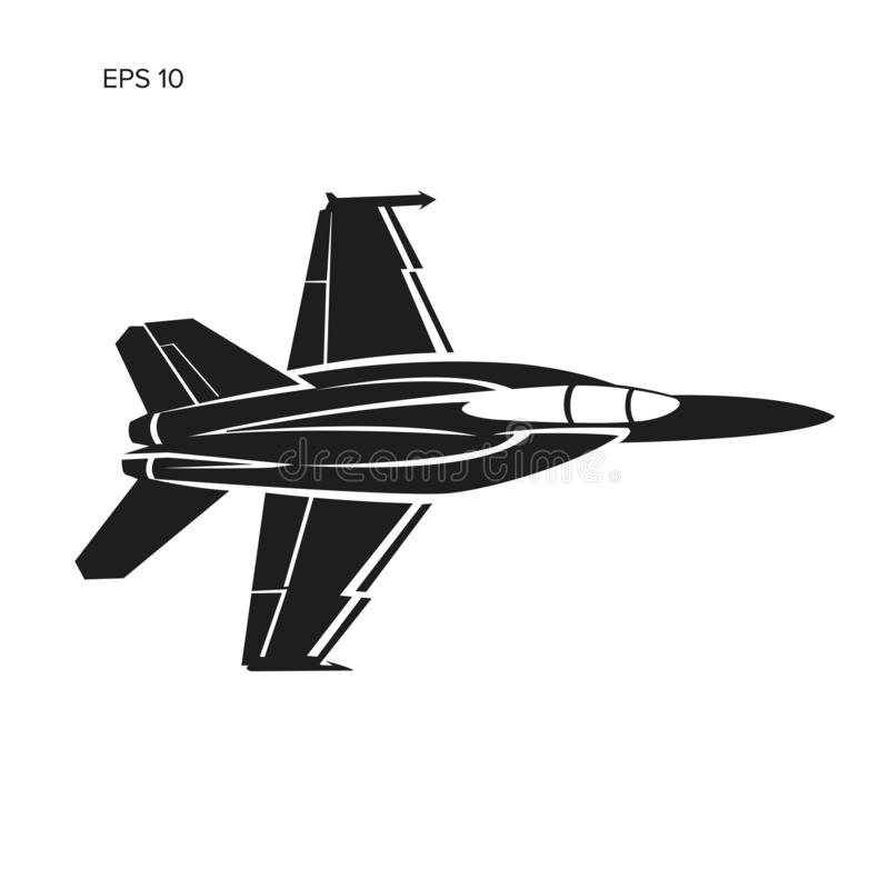 Jet fighter vector illustration. Military aircraft icon. Carrier-based aircraft. Jet fighter vector illustration. Military aircraft. Carrier-based aircraft vector illustration