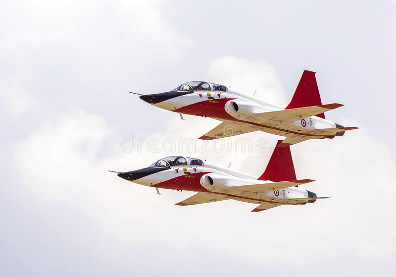Jet Fighters. Two jet fighters in flight at a airshow in Izmir, Turkey stock photo