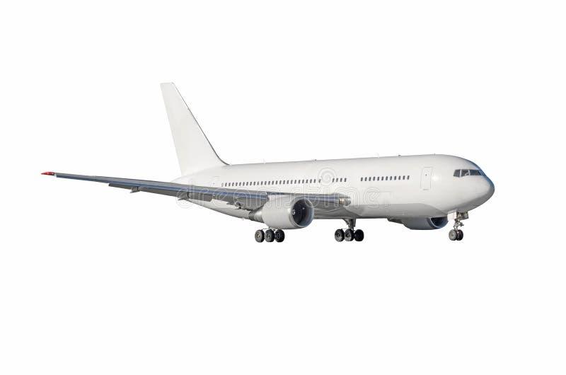Jet-Flugzeug mit dem bereiten Fahrwerk lokalisiert auf weißem Hintergrund lizenzfreie stockbilder