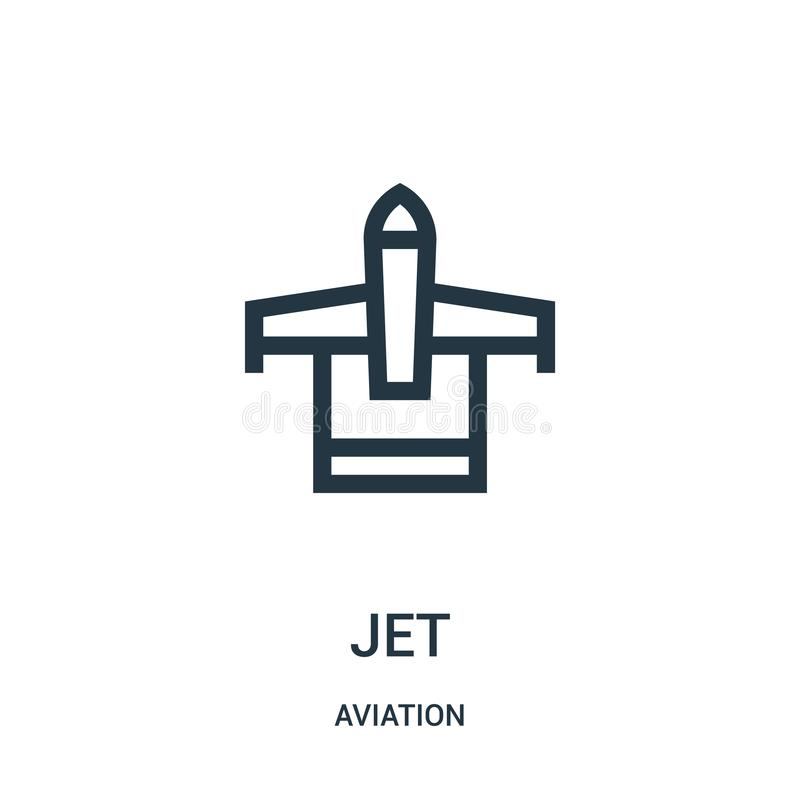 Jet icon vector from aviation collection. Thin line jet outline icon vector illustration. Linear symbol for use on web and mobile. Apps, logo, print media royalty free illustration