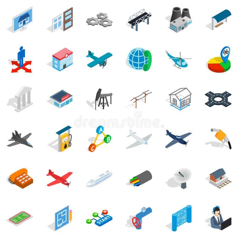 Jet icons set, isometric style. Jet icons set. Isometric style of 36 jet vector icons for web isolated on white background stock illustration