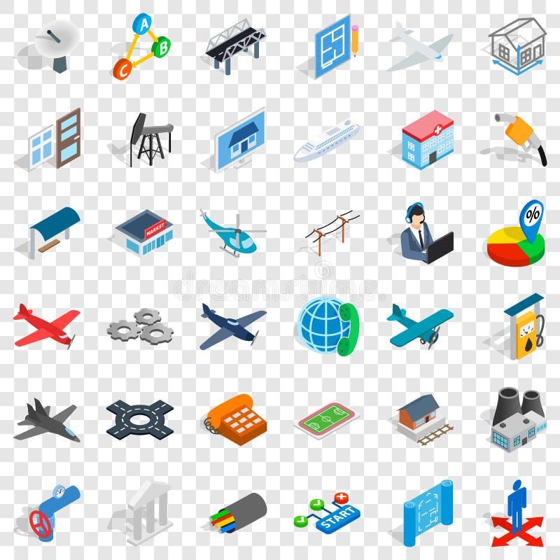 Jet icons set, isometric style. Jet icons set. Isometric style of 36 jet vector icons for web for any design royalty free illustration