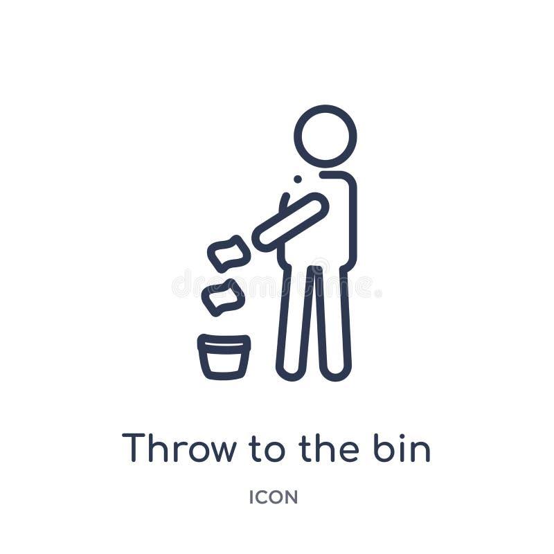 Jet linéaire à l'icône de poubelle collection de cartes et de drapeaux d'ensemble Ligne mince jet à l'icône de poubelle d'isoleme illustration de vecteur