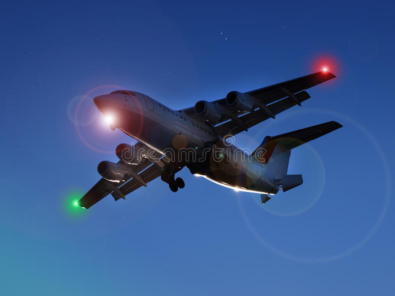 Jet At Night Stock Images