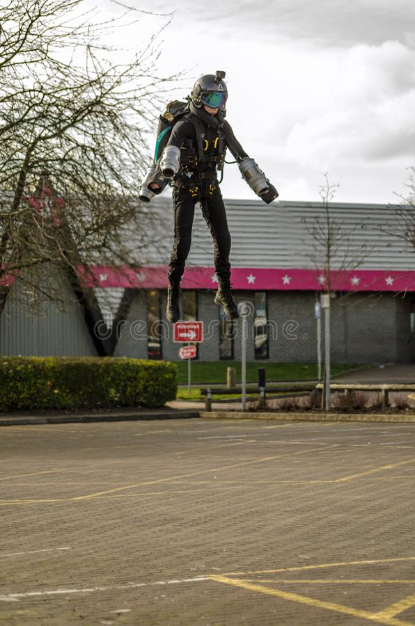 Jet Pack Pilot Ryan Hopgood en Basingstoke photos libres de droits