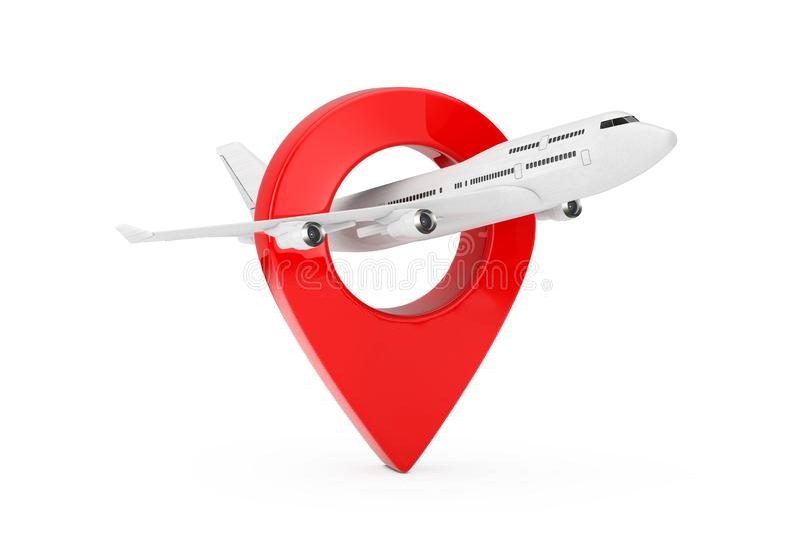 Jet Passenger blanca \ 'aeroplano de s con la blanco Pin Map Pointer representación 3d ilustración del vector