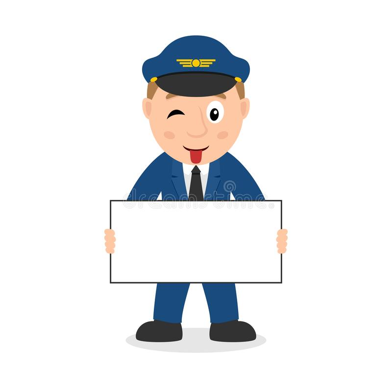 Jet Pilot Character with Blank Banner stock illustration
