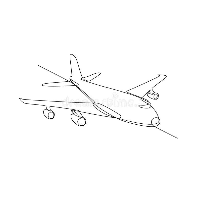 Jet Plane Airliner Continuous Line enorme ilustração do vetor