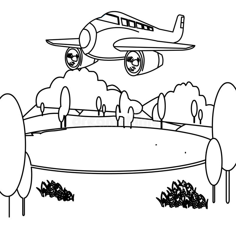 Jet plane coloring page. Hand drawn big jet plane coloring page for kids vector illustration