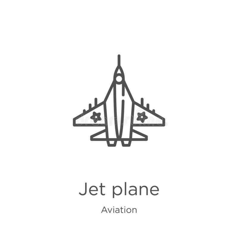 Jet plane icon vector from aviation collection. Thin line jet plane outline icon vector illustration. Outline, thin line jet plane. Jet plane icon. Element of royalty free illustration
