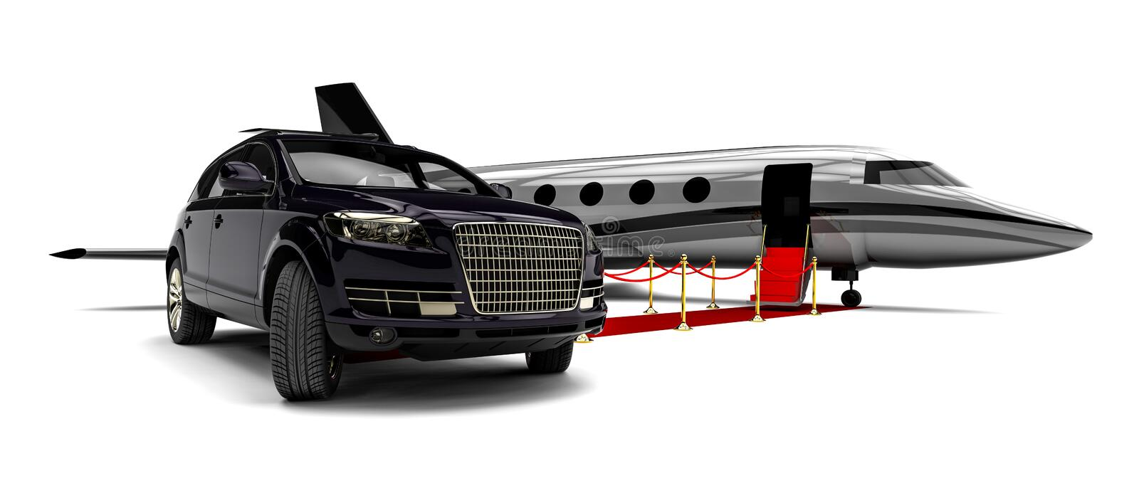 Jet plane with a luxury SUV and a red carpet royalty free illustration