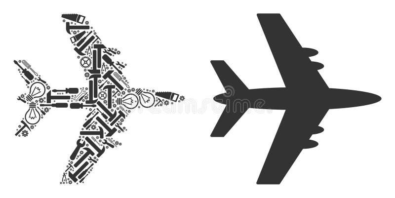 Jet Plane Mosaic av tjänste- hjälpmedel vektor illustrationer