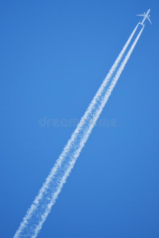 Jet plane in the sky stock image
