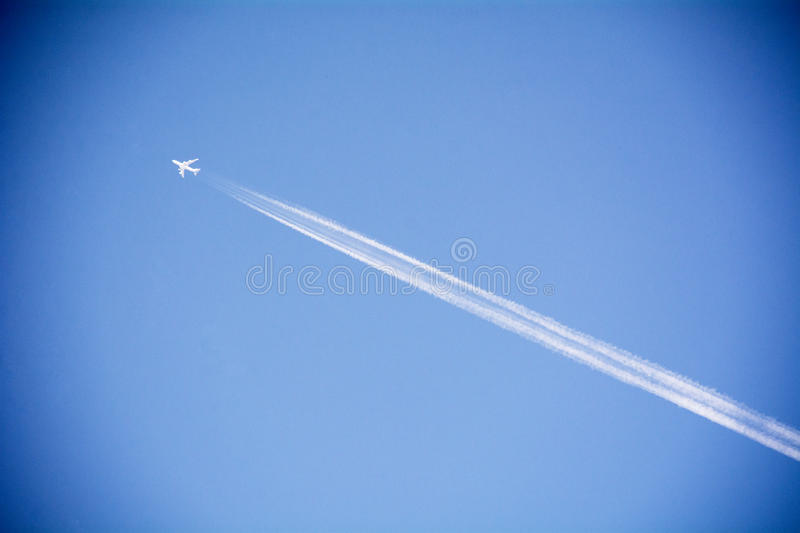 Jet plane in the sky stock images