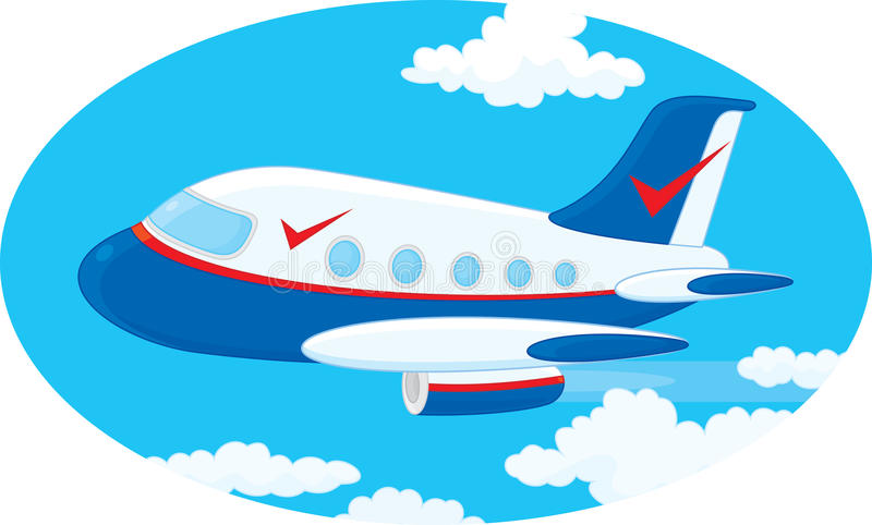 Airplane. Jet plane, vector clip-art on a white background stock illustration
