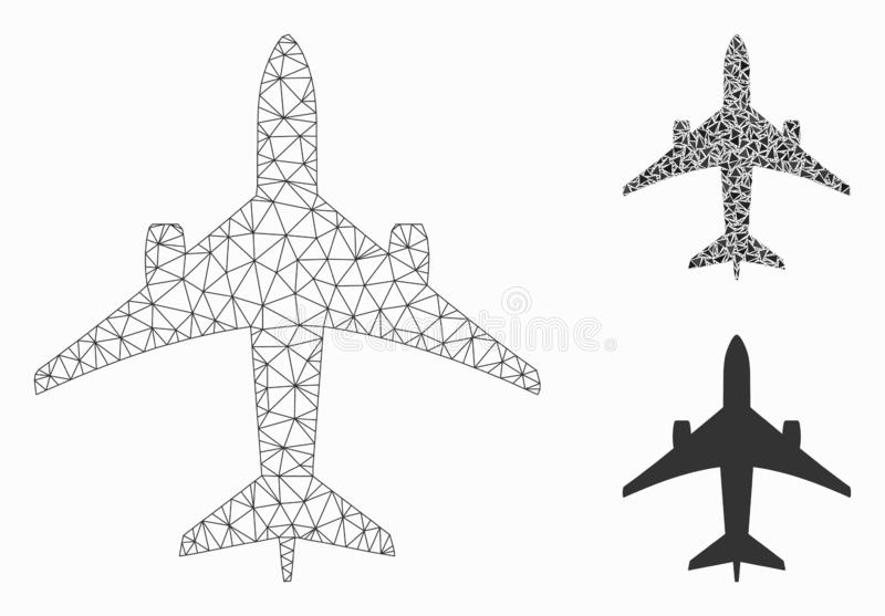 Jet Plane Vector Mesh Carcass Model and Triangle Mosaic Icon. Mesh jet plane model with triangle mosaic icon. Wire carcass polygonal mesh of jet plane. Vector stock illustration