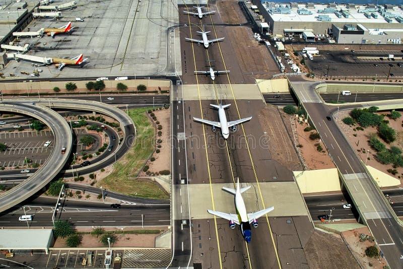 Jet Planes op Taxibaan stock foto's