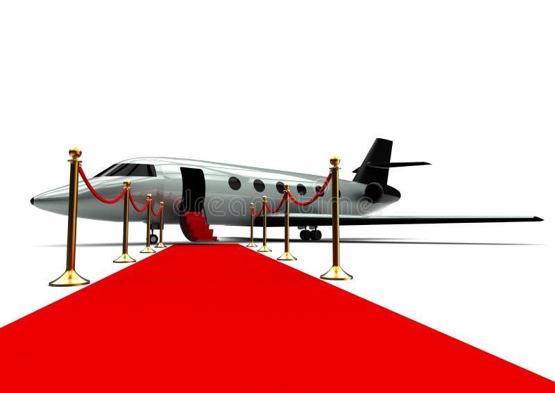 Jet privé avec le tapis rouge illustration libre de droits
