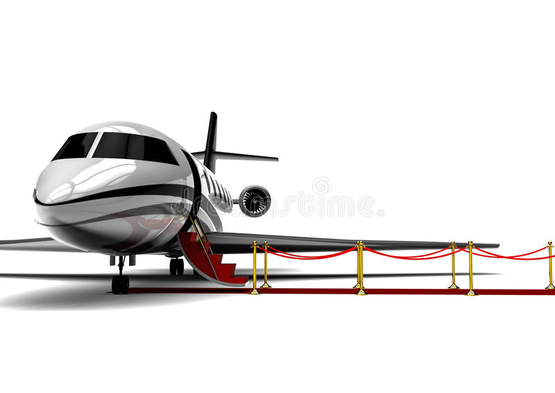 Jet privé avec le tapis rouge illustration stock