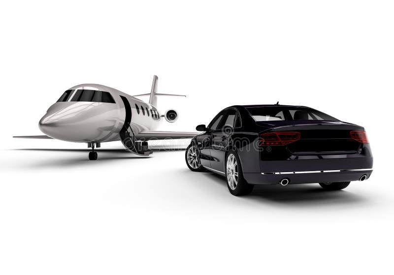 Jet privé avec une limousine illustration libre de droits