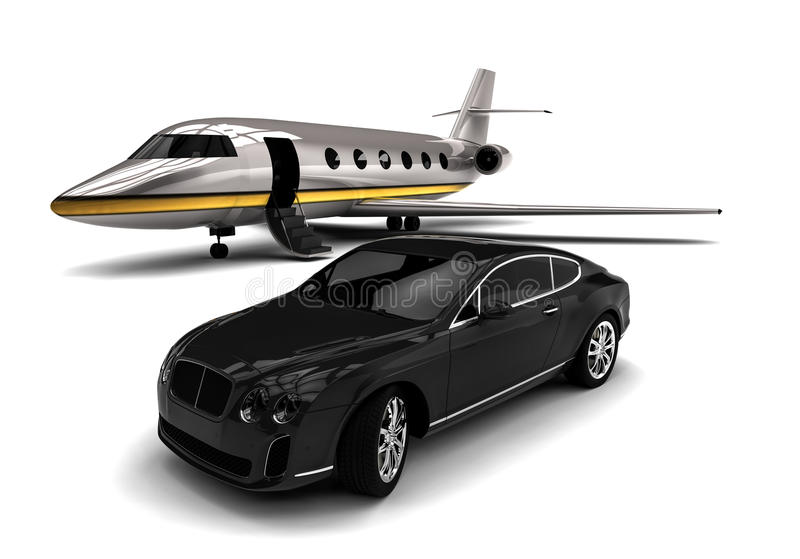 Jet privé avec une limousine illustration de vecteur