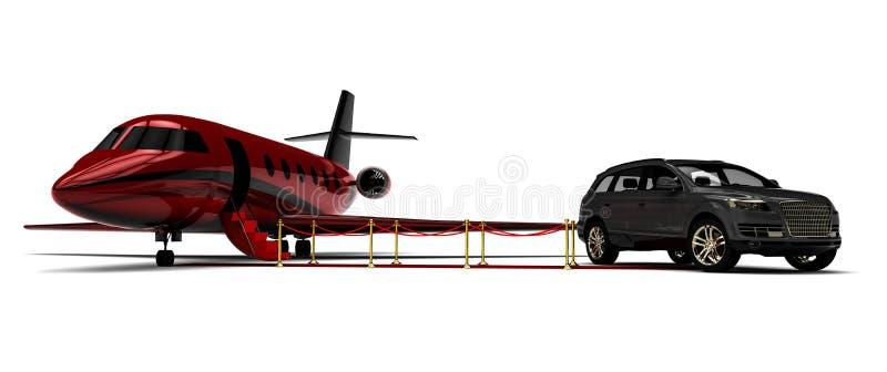 Jet privé avec une limousine de SUV illustration de vecteur