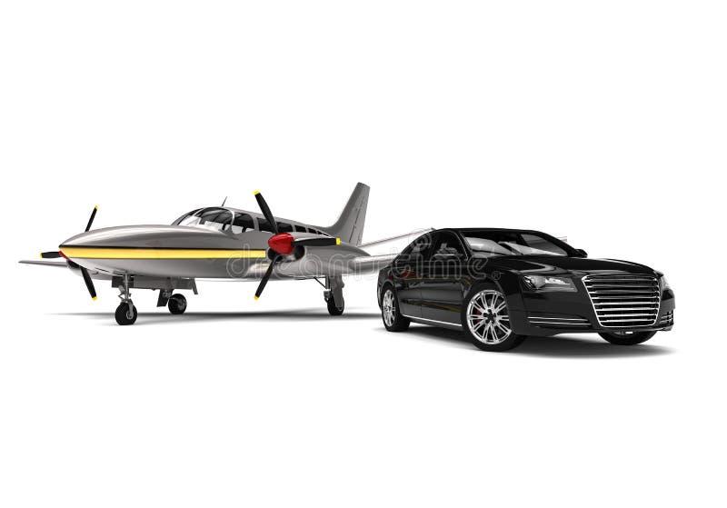 Jet privé avec une voiture de luxe illustration stock