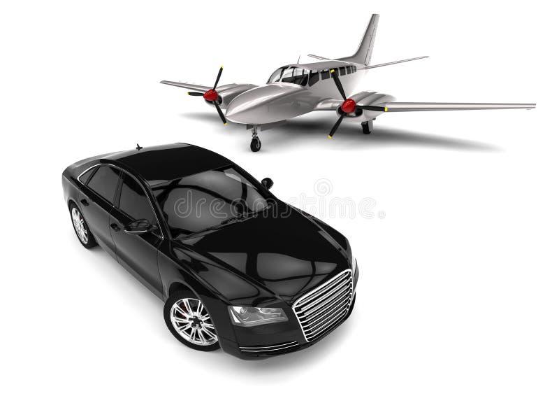 Jet privé avec une voiture de luxe illustration de vecteur