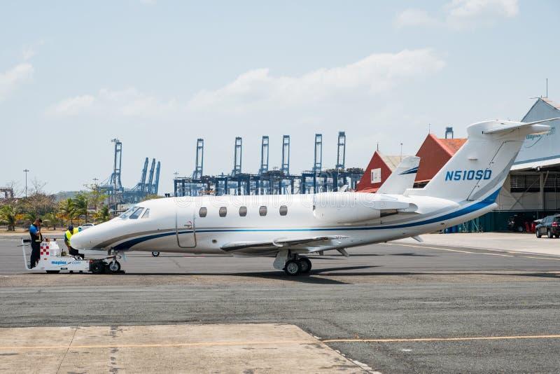 Jet privé, citation IIIon Panamá City Albrook Airpo de l'essna 650 images stock