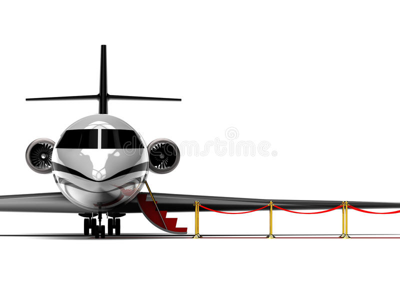 Jet privé de tapis rouge illustration de vecteur