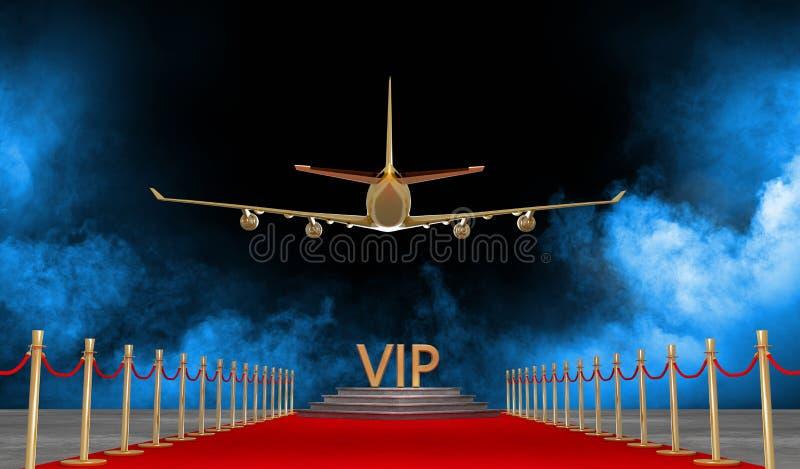 Jet privé de tapis rouge avec un luxe VIP illustration de vecteur