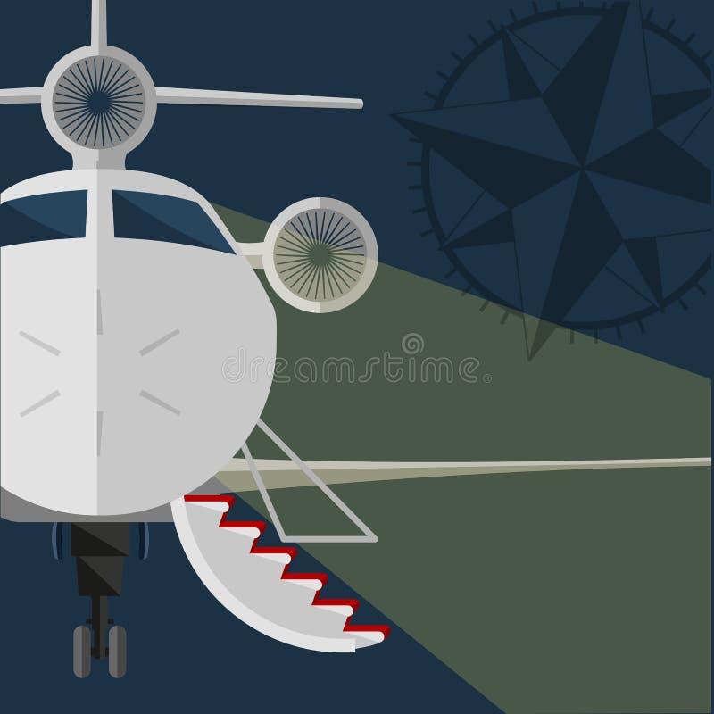 Jet privé de vecteur ouvrez la passerelle, tapis rouge Rose de vent Conception plate Rétro affiche de style illustration libre de droits