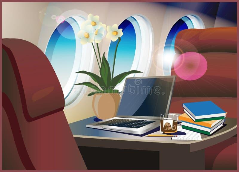 Jet privé intérieur illustration de vecteur