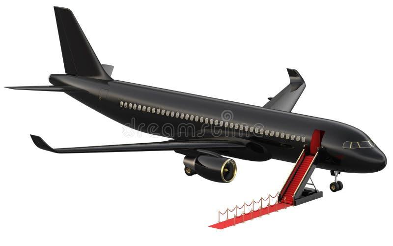 Jet privé réactif noir Privé-jet blanc et échelle ouverte, tapis rouge à l'airpor 3d rendant isométrique illustration libre de droits