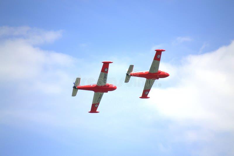 Jet Provost Duo-vertoning Eastbourne Airshow stock fotografie
