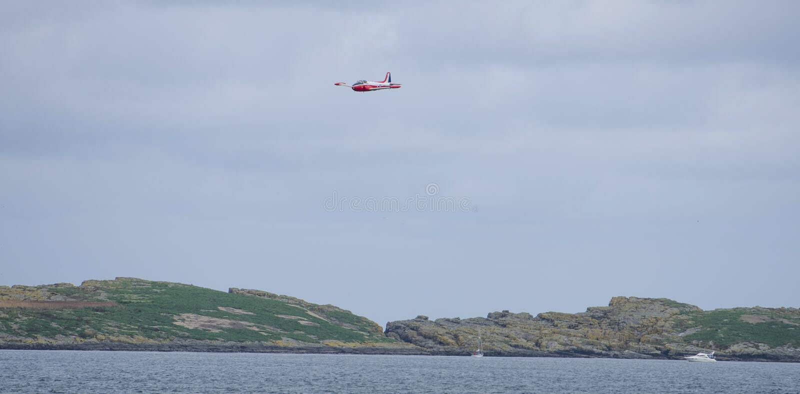 Jet Provost over Skerries Portrush stock foto
