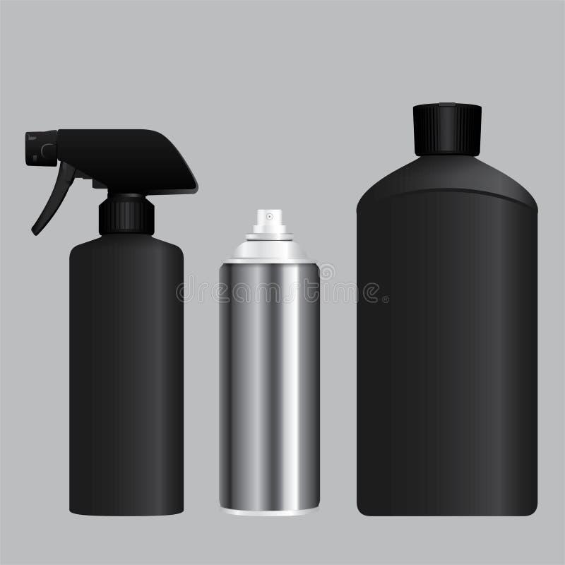 Jet, récipient d'aérosol et bouteille brumeux noirs illustration libre de droits