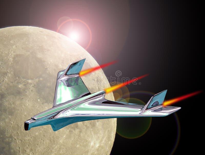 Jet-Raketenflug in den Raum, der Umlaufbahn der Erde verlässt stockbilder