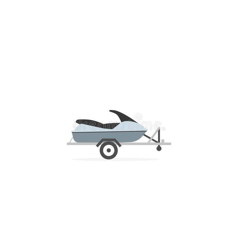 Jet ski on automobile trailer icon. Clipart image isolated on white background royalty free illustration