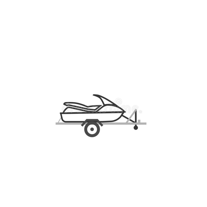 Jet ski on automobile trailer outline icon. Clipart image isolated on white background royalty free illustration