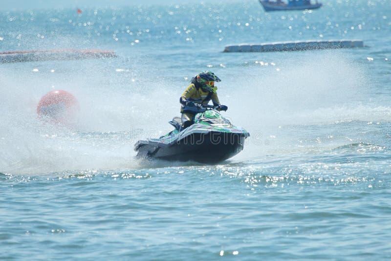 Jet Ski Racer i handling arkivfoto