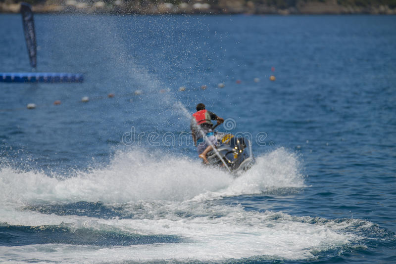Jet ski riding royalty free stock photos
