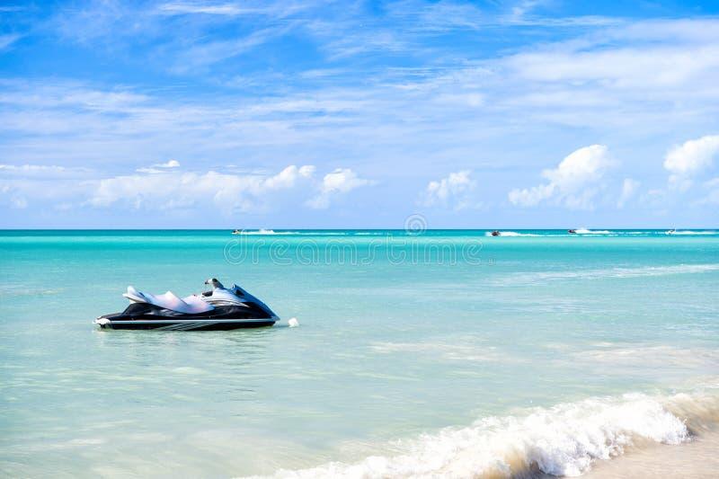 Jet ski, water motorcycle, bike on sea, St. John, Antigua stock photo