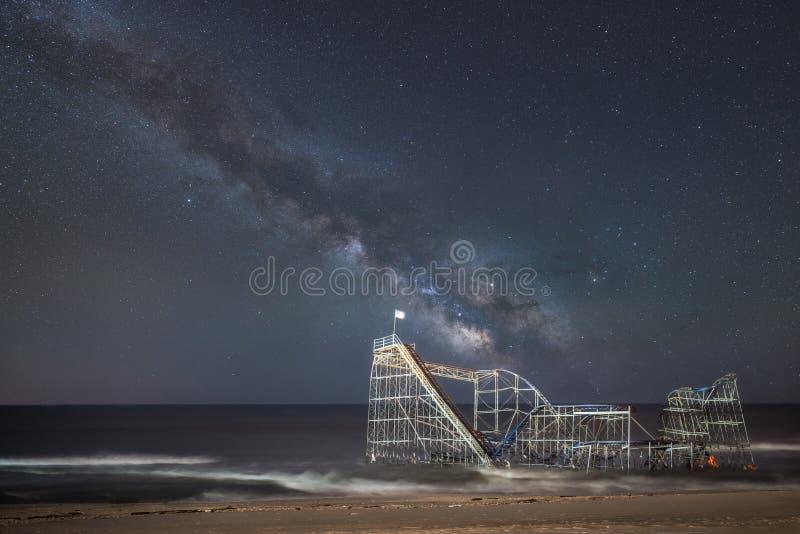 Jet Star Rollercoaster sob a galáxia da Via Látea imagem de stock