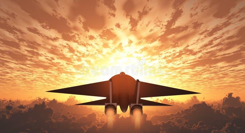 Jet Sunrise militaire ou coucher du soleil illustration stock